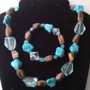 Vtg Southwestern Turquoise Necklace & Bracelet.